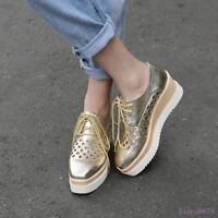 Womens Mid Wedge Heel Shoes Pump Lace Up Hot Platform Hollow Out Casual Creeper