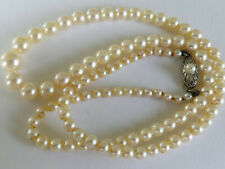 Art Deco Japanese Mikimoto Cultured Pearl Necklace w. Sterling Clasp 18� Length