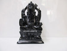 "4.5"" Black Marble Ganesha Statue Lord Ganesha Sculpture Handmade Birthday Gifts"
