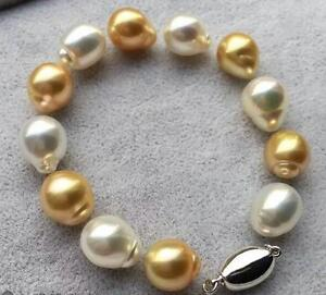 """7.5"""" 12-15mm natural south sea white gold baroque pearl bracelet"""