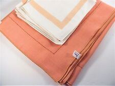 Cantaloupe Colored Poly / Rayon Tablecloth With 6 Napkins