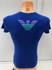 EMPORIO ARMANI Signature Logo Graphic Blue T-Shirt Top Tee Size S BNWT
