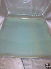 "KN KAREN NEUBURGER WILLOW COLLECTION GREEN 12 1/4"" SQUARE PLATTER TAN LINES"