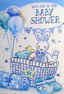 "Fun Modern Baby Basket Accessories & Balloons ""BABY SHOWER"" Card"