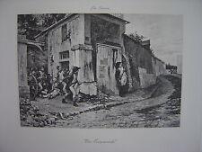 Grande Estampe originale  Léon Girardet  Une escarmouche Soldats Militaires