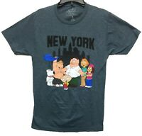 Family Guy Men's Characters New York Licensed T-Shirt Heather Blue New