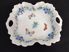 Limonges France Porcelain Handled Dish Tray Butterfly Hand Painted