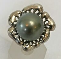 12mm Tahitian Cultured Pearl Flower Ring