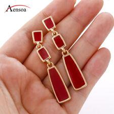 New Women Red Enamel Earring INS Style Long Pendant Drop Earrings Jewelry Girls