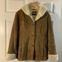 Gallery Suede Leather heavy Coat Jacket Faux Fur Lined Hooded Womens Sz L NWOT