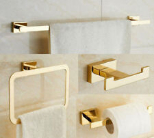 New 4pcs SUS 304 Gold Plated Toilet Paper Tissue Towel Bar Rack Holder Robe Hook