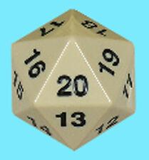 KOPLOW GAMES 55MM OPAQUE IVORY w/ BLACK DIE D20 Jumbo Countdown Life Counter MTG