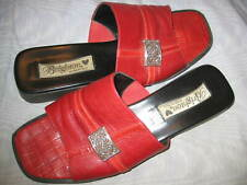 BRIGHTON RED LEATHER SLIDE SANDALS, SZ 8M