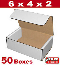 6x4x2 White Corrugated Cardboard Packaging Shipping Packing Mailing Boxes 50 Pcs