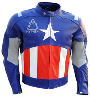 Captain America Civil War Genuine Cowhide Leather Motorbike Jacket  Safety Pads