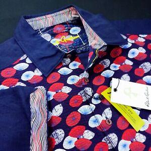Robert Graham Geometric Seersucker Floral Print Short Sleeve Shirt Red Blue $268