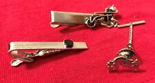 w/Carriage Horse - Sea Serpent - Gem Accents Set Of 3 Vintage Tie Bars / Clasps