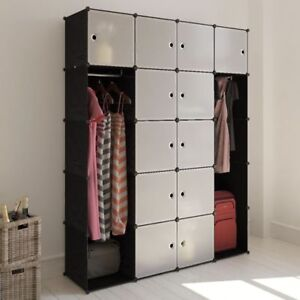 Black White Modular Cabinet Wardrobe Storage Office Bedroom Shoes Rack Clothes