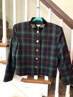 Vintage 80s Tartan Equestrian Cropped DONCASTER Blazer Jacket 38 Bust M L