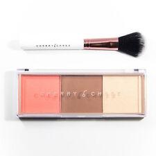 Cherry Chree Blush Brozer Contour Illuminator Palette w/ Face Brush Peach 1023