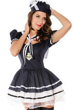Sexy Sailor Style Blue & White Dress Built in Tutu Halloween Costume S/M Cute