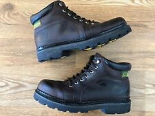 JOHN DEERE Brown Leather Work Boots Men's 10 M Lace Up Oil Resistant