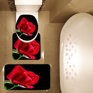 3 Piece Red Rose Black Background Bathroom Mat Set Contour Mat Toilet Cover Mat