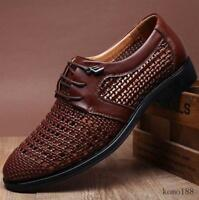 Men's Summer Leather Dress Shoes Hollow Out Lace-up Breathable Casual Sandals