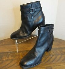 Predictions Womens Ankle Boots Size 10 Black Leather Zip Buckle Detail