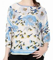 John Paul Richard Womens Blouse Blue Size Small PS Petite Floral Print $40- 967