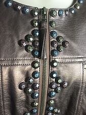 Ruby Rd  Faux Leather Jacket Woman's Plus size 20W Studded Embellished Moto