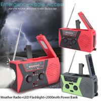 Emergency Solar Hand Crank NOAA Weather Radio 2000mAh Power Bank Charger Camping