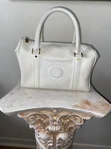 RARE VTG AUTH GUCCI WHITE GG CANVAS DR BAG BOSTON BAG SATCHEL HANDBAG TOTE