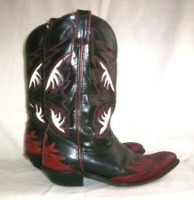 """Vintage CODE WEST Women Black White Red Inlay """"Flame"""" Leather Western Boots 8.5"""""""