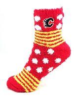 Calgary Flames Hockey For Bare Feet Homegator Red Fuzzy Socks