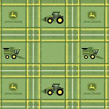 John Deere Tractor Plaid Multi Tractors Logo 100% Cotton Green Fabric - BTY