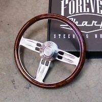 "14"" Chrome Polished Burl Wood Wrap Steering Wheel Forever Sharp Horn Button"