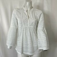 Loft Womens White Eyelet Bell Sleeve Blouse Size Extra Small