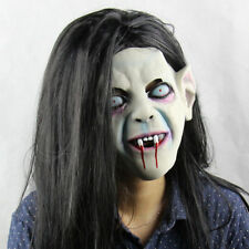 Women Girl Halloween Terror Mask Horror Ghost With Hair Scary Prop Latex Costume
