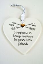 Large White Gold hanging Heart HAPPINESS IS BEING MARRIED TO YOUR BEST FRIEND
