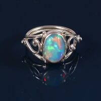 925 Sterling Silver Natural Ethiopian Welo Fire Opal Exclusive Wedding Ring #296