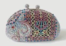 Silver~Multi-Color~ Elephant Pattern Handmade Crystal~Bridal Evening Clutch Bag