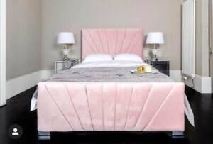 LINEAR SUNRISE PLUSH VELVET UPHOLSTERED BED FRAME - VARIOUS COLOURS