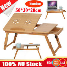 Folding Flower Hole Bamboo Laptop Desk Computer Bed Work Tray Table w/Drawer