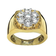 Round Cut Mens Classic 14k Yellow Gold On Sterling Silver Pinky Ring Band S 9-10