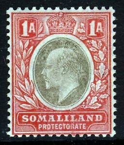 BRITISH SOMALILAND KE VII 1906 1 Anna Grey & Red Wmk Mult Crown CA SG 46a MINT