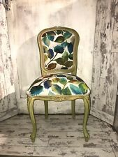 French Louis Style Bedroom Chair In Designers Guild Linen Autumn Leaves