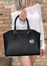 Michael Kors Ciara Large Black Satchel Saffiano Leather Bag BLACK