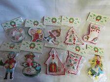 Vintage Felt Embroidered Christmas Ornament 10 Lot Dutch Swiss boy girl church