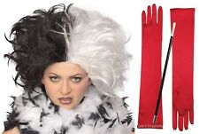 Cruella de Vil Costume Set Black White Wig Red Long Gloves Cigarette Holder Spot